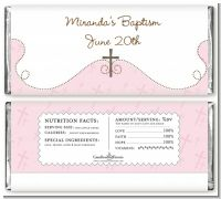 Cross Pink - Personalized Baptism / Christening Candy Bar Wrappers