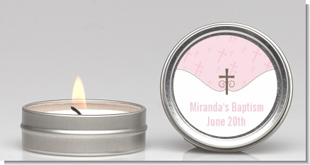 Cross Pink - Baptism / Christening Candle Favors