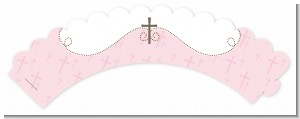 Cross Pink - Baptism / Christening Cupcake Wrappers
