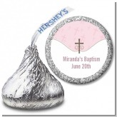 Cross Pink - Hershey Kiss Baptism / Christening Sticker Labels