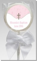 Cross Pink - Personalized Baptism / Christening Lollipop Favors