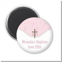 Cross Pink - Personalized Baptism / Christening Magnet Favors