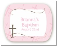 Cross Pink - Personalized Baptism / Christening Rounded Corner Stickers