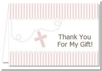 Cross Pink Necklace - Baptism / Christening Thank You Cards