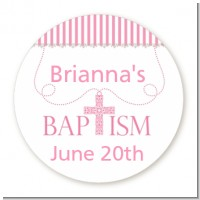 Cross Pink Necklace - Round Personalized Baptism / Christening Sticker Labels