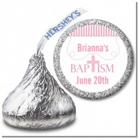 Cross Pink Necklace - Hershey Kiss Baptism / Christening Sticker Labels
