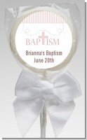 Cross Pink Necklace - Personalized Baptism / Christening Lollipop Favors