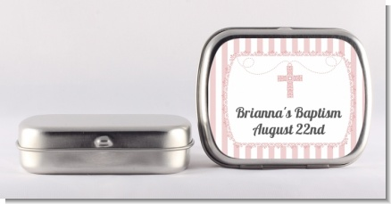 Cross Pink Necklace - Personalized Baptism / Christening Mint Tins