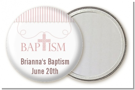 Cross Pink Necklace - Personalized Baptism / Christening Pocket Mirror Favors