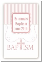 Cross Pink Necklace - Custom Large Rectangle Baptism / Christening Sticker/Labels