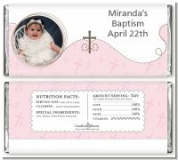 Cross Pink Photo - Personalized Baptism / Christening Candy Bar Wrappers