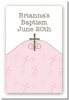 Cross Pink - Custom Large Rectangle Baptism / Christening Sticker/Labels