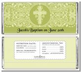 Cross Sage Green - Personalized Baptism / Christening Candy Bar Wrappers