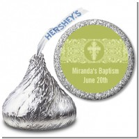 Cross Sage Green - Hershey Kiss Baptism / Christening Sticker Labels