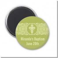 Cross Sage Green - Personalized Baptism / Christening Magnet Favors