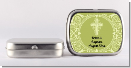 Cross Sage Green - Personalized Baptism / Christening Mint Tins
