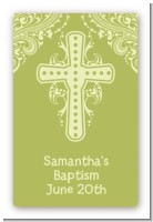 Cross Sage Green - Custom Large Rectangle Baptism / Christening Sticker/Labels