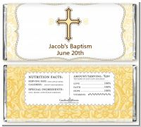 Cross Yellow & Brown - Personalized Baptism / Christening Candy Bar Wrappers