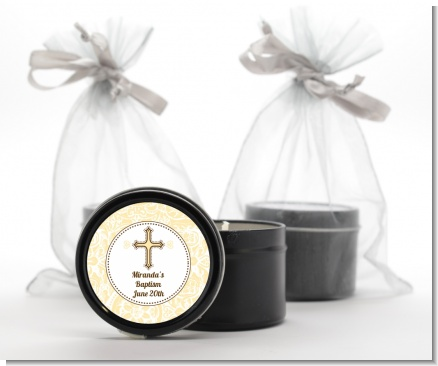 Cross Yellow & Brown - Baptism / Christening Black Candle Tin Favors