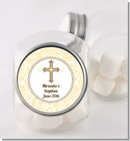 Cross Yellow & Brown - Personalized Baptism / Christening Candy Jar