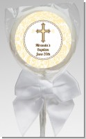 Cross Yellow & Brown - Personalized Baptism / Christening Lollipop Favors