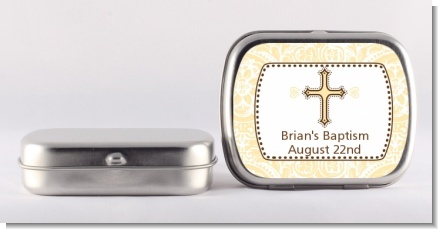 Cross Yellow & Brown - Personalized Baptism / Christening Mint Tins