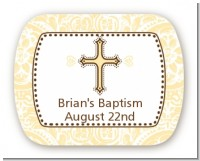Cross Yellow & Brown - Personalized Baptism / Christening Rounded Corner Stickers