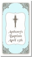 Cross Blue & Brown - Custom Rectangle Baptism / Christening Sticker/Labels