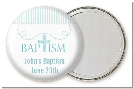 Cross Blue Necklace - Personalized Baptism / Christening Pocket Mirror Favors