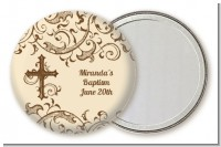 Cross Brown & Beige - Personalized Baptism / Christening Pocket Mirror Favors