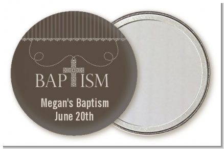 Cross Brown Necklace - Personalized Baptism / Christening Pocket Mirror Favors