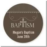 Cross Brown Necklace - Round Personalized Baptism / Christening Sticker Labels