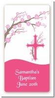Cross Cherry Blossom - Custom Rectangle Baptism / Christening Sticker/Labels