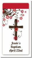 Cross Floral Blossom - Custom Rectangle Baptism / Christening Sticker/Labels