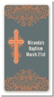 Cross Grey & Orange - Custom Rectangle Baptism / Christening Sticker/Labels