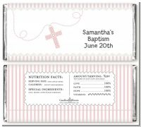 Cross Pink Necklace - Personalized Baptism / Christening Candy Bar Wrappers