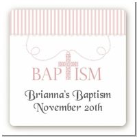 Cross Pink Necklace - Square Personalized Baptism / Christening Sticker Labels