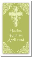 Cross Sage Green - Custom Rectangle Baptism / Christening Sticker/Labels