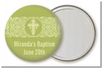 Cross Sage Green - Personalized Baptism / Christening Pocket Mirror Favors