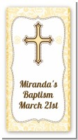 Cross Yellow & Brown - Custom Rectangle Baptism / Christening Sticker/Labels