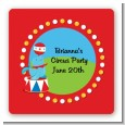 Circus Seal - Square Personalized Birthday Party Sticker Labels thumbnail