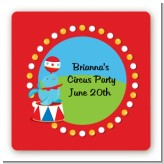 Circus Seal - Square Personalized Birthday Party Sticker Labels