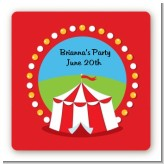 Circus Tent - Square Personalized Birthday Party Sticker Labels