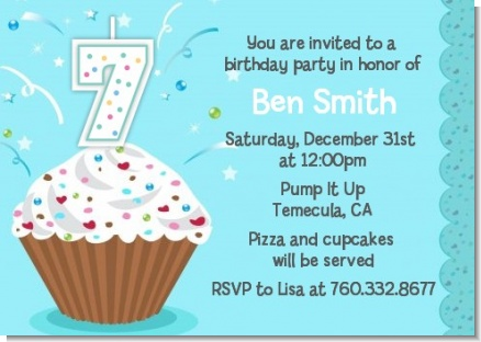 Cupcake Boy - Birthday Party Invitations