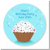 Cupcake Boy - Round Personalized Birthday Party Sticker Labels