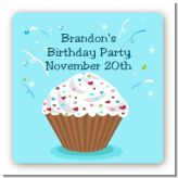 Cupcake Boy - Square Personalized Birthday Party Sticker Labels