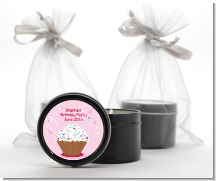 Cupcake Girl - Birthday Party Black Candle Tin Favors