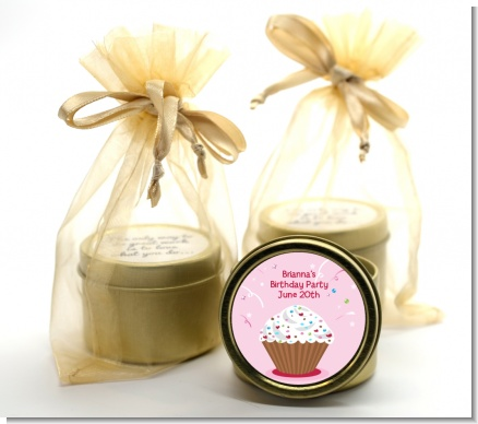 Cupcake Girl - Birthday Party Gold Tin Candle Favors