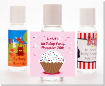 Cupcake Girl - Personalized Birthday Party Hand Sanitizers Favors