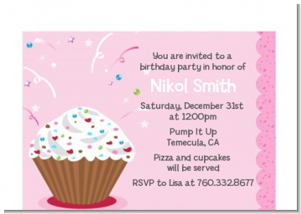 Cupcake Girl - Birthday Party Petite Invitations